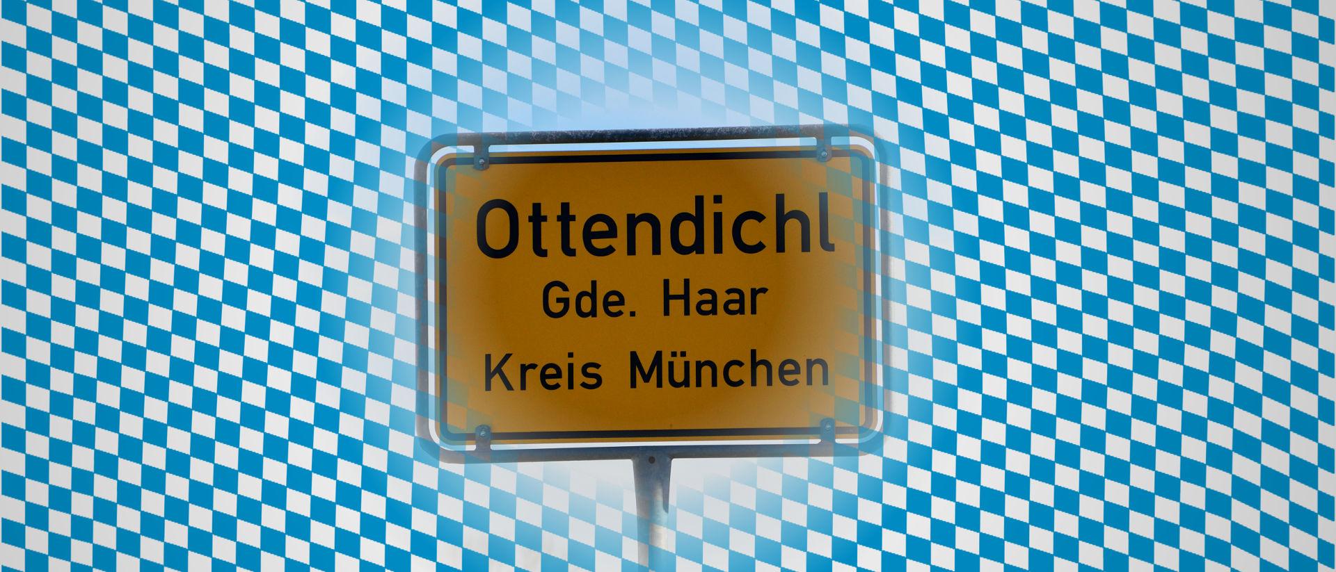 Ortsschild der Bürgervereinigung Ottendichl e.V. (BVO) vor bayerischen Rautenmuster